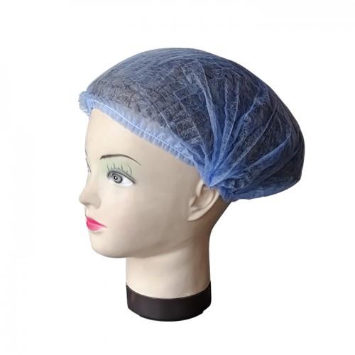 Опаковка 100 броя еднократно боне от нетъкан текстил, 42 см - синьо