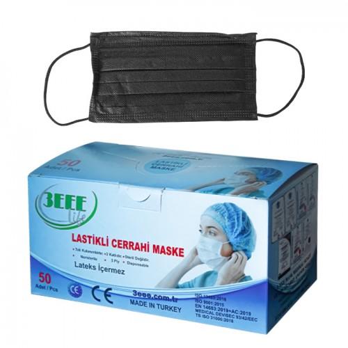 Черни защитни маски за еднократно ползване 3EEE, 50 броя