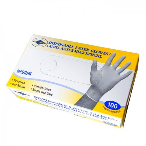 Кутия със 100 броя еднократни ръкавици от латекс
