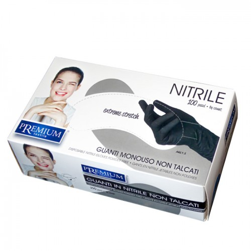 Кутия със 100 броя еднократни ръкавици от нитрил Premium