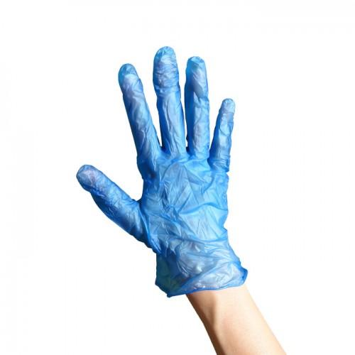 Ръкавици за еднократна употреба от син винил 100 броя L размер