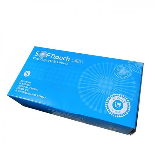 Soft touch ръкавици от винил с пудра S размер по 100 броя в кутия
